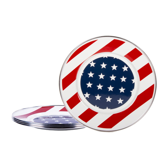 SS11S4 - Set of 4 - Stars and Stripes - Enamelware Sandwich Plates