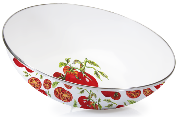 TM18 - Tomatoes Pattern - Enamelware Catering Bowl - by Golden Rabbit