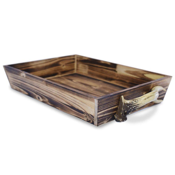 LD4001 - Wooden Serving Tray w/ (Faux) Antler Handles by HiEnd Accents