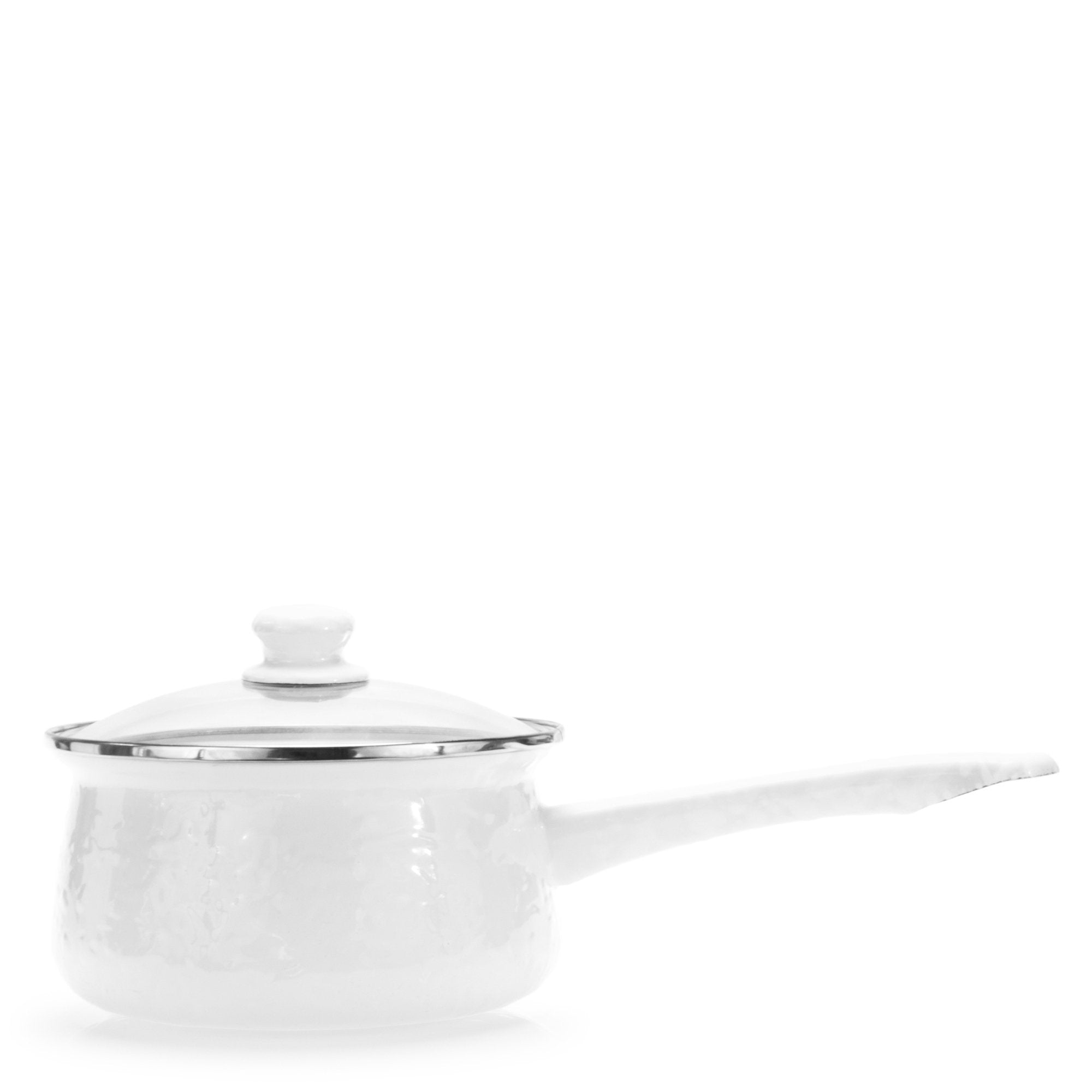 WW19 - Solid White - Enamelware - 5 Cup Sauce Pan by Golden Rabbit