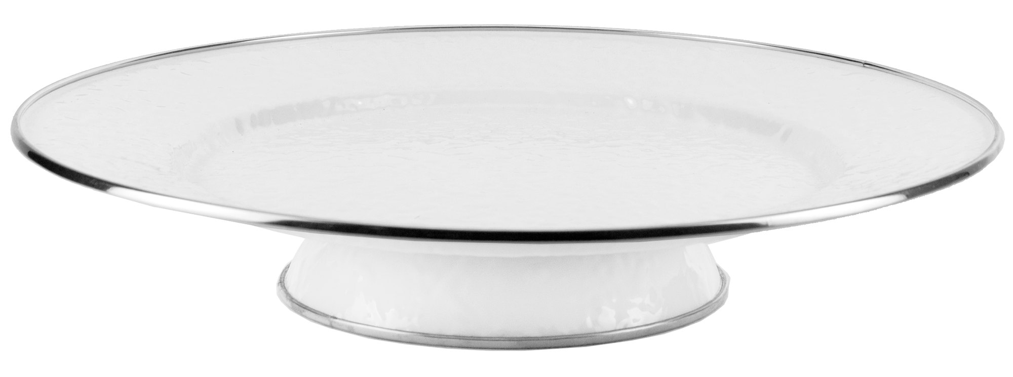WW76- Enamelware White on White Cake Plate by Golden Rabbit