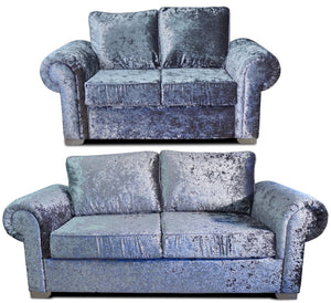 Angelica Glitz crushed velvet 3 Seater & 2 Seater Formal Back Sofa Set