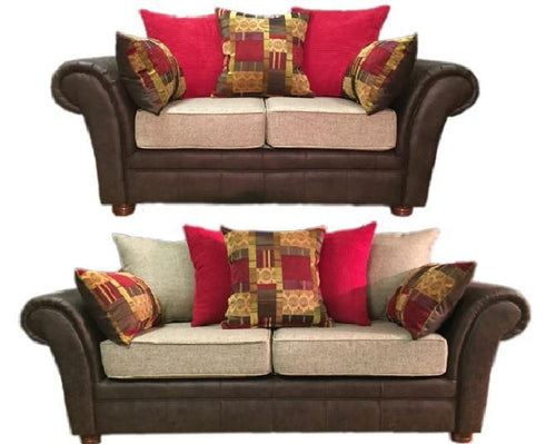 Perez 3 Seater & 2 Seater Pillow Back Sofa Set