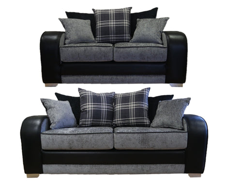 Tessa 3 Seater & 2 Seater Pillow Back Sofa Set