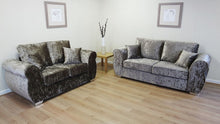 Load image into Gallery viewer, Helix Glitz Crushed Velvet 3 Seater & 2 Seater Formal Back Sofa Set