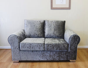 Barca Glitz Crushed Velvet 2 Seater Formal Back Sofa