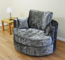 Load image into Gallery viewer, Helix Glitz Crushed Velvet Swivel Chair