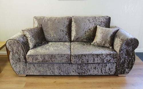 Helix Glitz Crushed Velvet 3 Seater Formal Back Sofa Bed