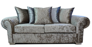 Angelica Glitz crushed velvet 3 Seater Pillow Back Sofa
