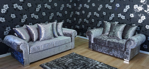 Angelica Glitz crushed velvet 3 Seater & 2 Seater Pillow Back Sofa Set