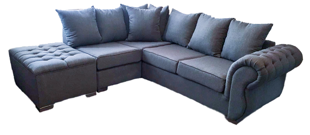 Rio Left Hand Pillow Back Corner Sofa (Including Buttoned Footstool)