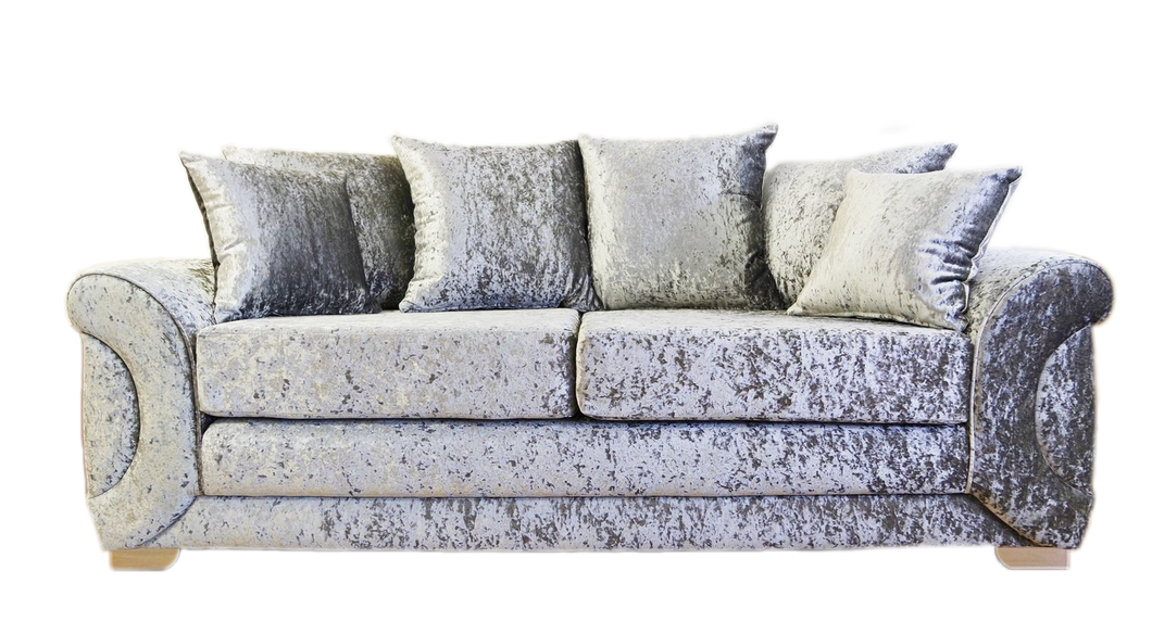 Colorado Glitz Crushed Velvet 3 Seater Pillow Back Sofa