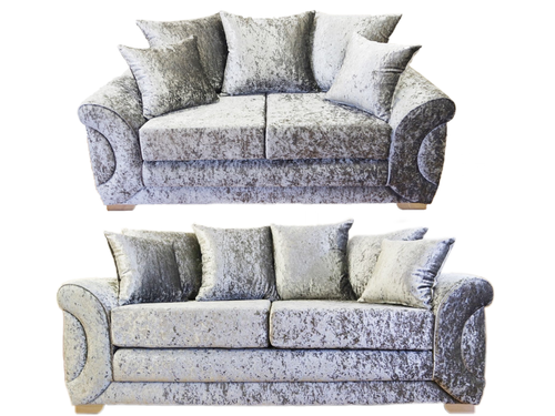 Colorado Glitz Crushed Velvet 3 Seater & 2 Seater Pillow Back Sofa Set