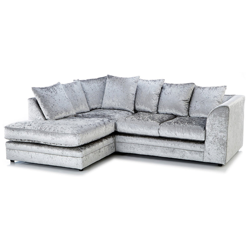 Paris Glitz Crushed Velvet Left Hand Corner Sofa