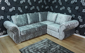 Rio Glitz Crushed Velvet Right Hand Formal Back Corner Sofa