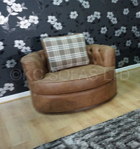 St Andrews Luxury Swivel Chair & 2 Seater Pillow Back Sofa Set