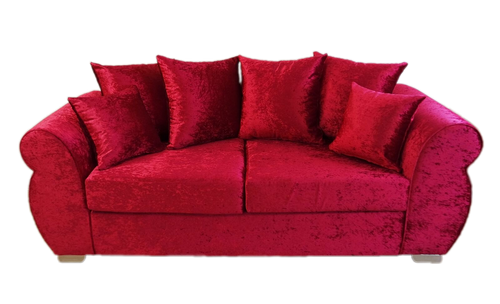 Helix Glitz Crushed Velvet 3 Seater Pillow Back Sofa