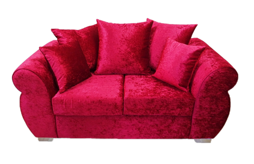 Helix Glitz Crushed Velvet 2 Seater Pillow Back Sofa