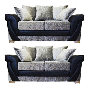 Lush Glitz Crushed Velvet 3 Seater & 2 Seater Sofa Set