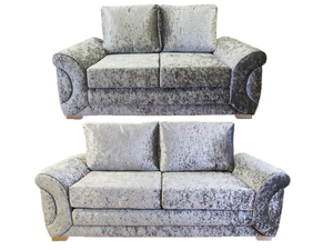 Colorado Glitz Crushed Velvet 3 Seater & 2 Seater Formal Back Sofa Set