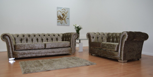 Chesterfield Glitz Crushed Velvet 3 Seater & 2 Seater Sofa Set