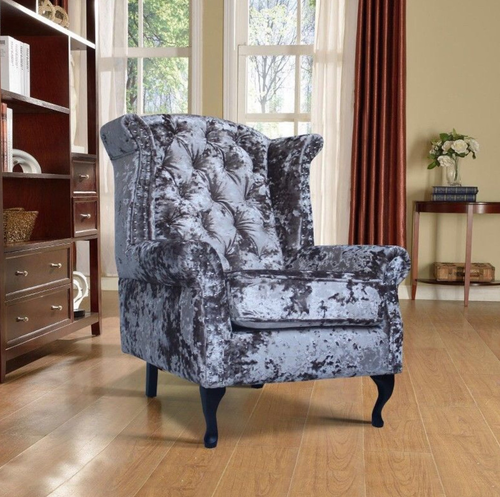 Chesterfield Glitz Crushed Velvet Wingback Chair