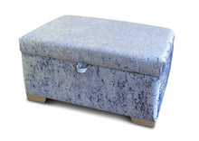 Load image into Gallery viewer, Delta Glitz Crushed Velvet Storage Footstool