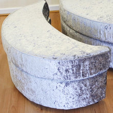 Load image into Gallery viewer, Helix Glitz Crushed Velvet Halfmoon Footstool