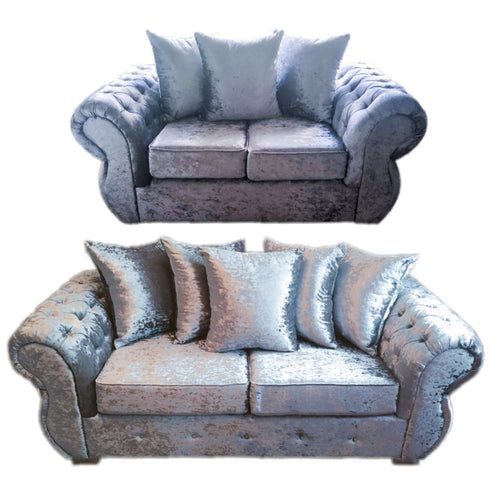 Rio Glitz Crushed Velvet 3 Seater & 2 Seater Pillow Back Sofa Set