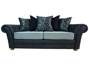 Perez Noir (Exclusive) 3 Seater Pillow Back Sofa