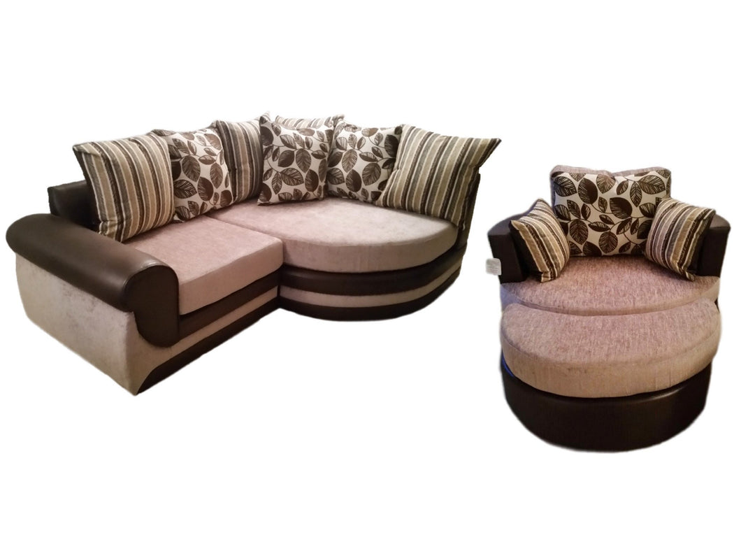 Kirk Vienna Cuddle Sofa, Swivel Chair & Moon Footstool Set Special Offer