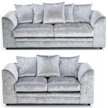Load image into Gallery viewer, Paris Glitz Crushed Velvet 3 Seater & 2 Seater Sofa Set