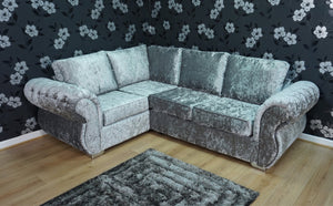 Rio Glitz Crushed Velvet Left Hand Formal Back Corner Sofa
