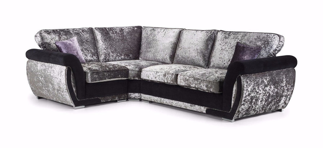 Shannon Glitz Crushed Velvet Left Hand Formal Back Corner Sofa