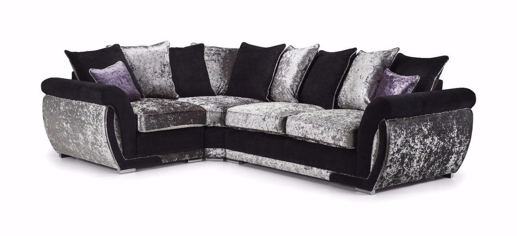 Shannon Glitz Crushed Velvet Left Hand Pillow Back Corner Sofa