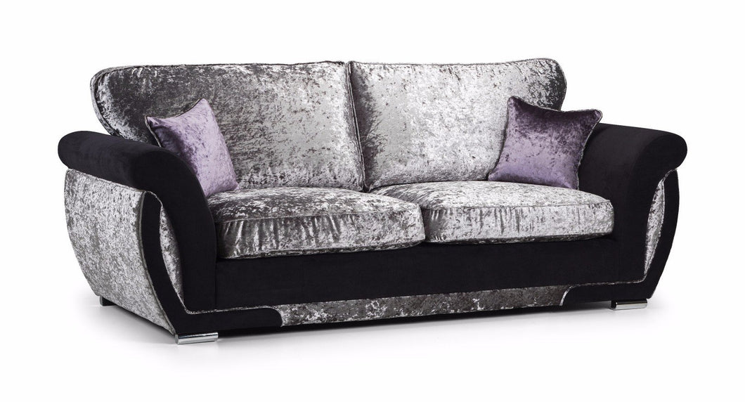 Shannon Glitz Crushed Velvet 3 Seater Formal Back Sofa