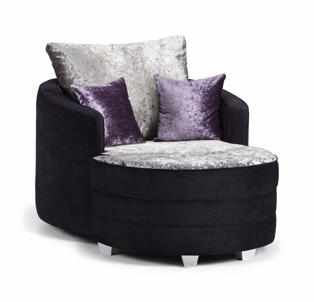 Shannon Glitz Crushed Velvet Swivel Chair & Moonstool Set