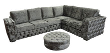 Load image into Gallery viewer, Buckingham Silver Glitz Corner + Round Button Top Footstool