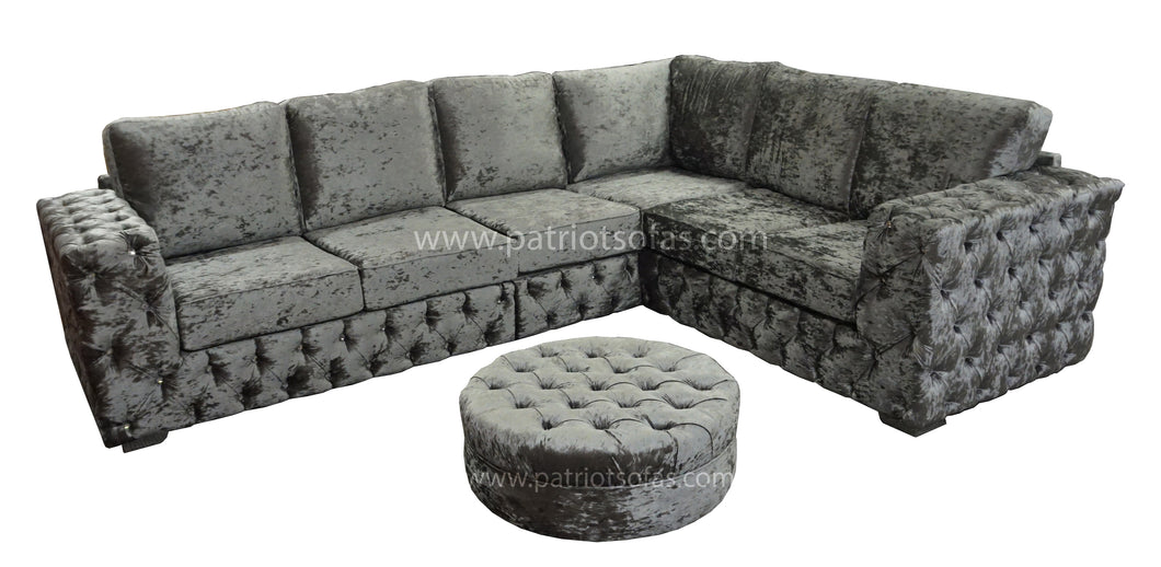 Buckingham Silver Glitz Corner + Round Button Top Footstool