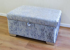 Delta Glitz Crushed Velvet Storage Footstool