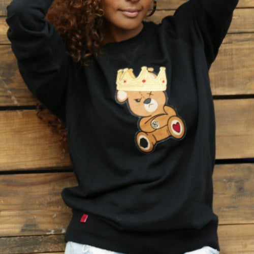 BLACK SWEATER WITH BEAR PATCH - AMOUR NOIR