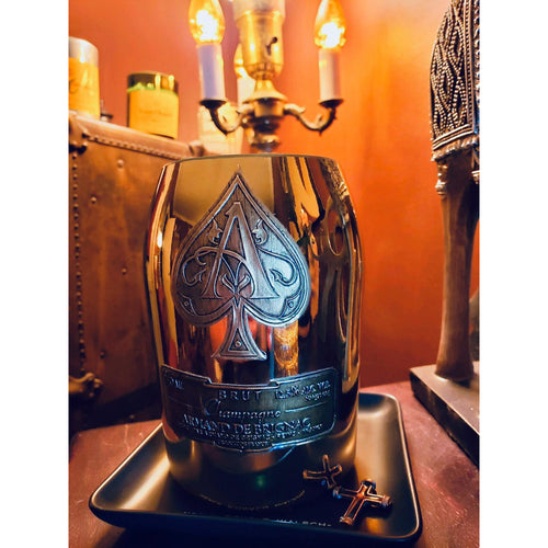 ACE OF SPADE CANDLE - LIQUOR ALCOHOL CUT BOTTLE RECYCLED SCENTED - AMOUR NOIR