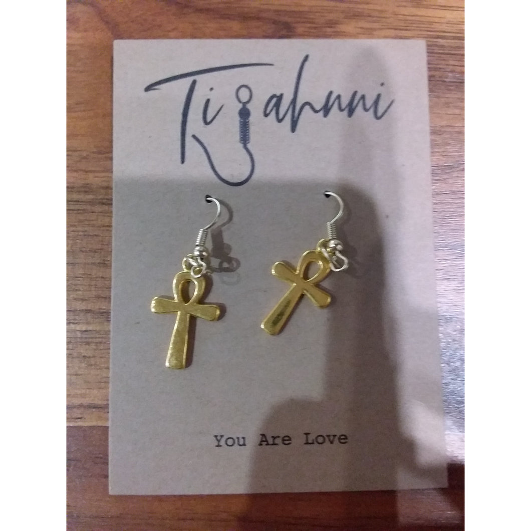 Gold Tijahnni Ankh Earrings - AMOUR NOIR