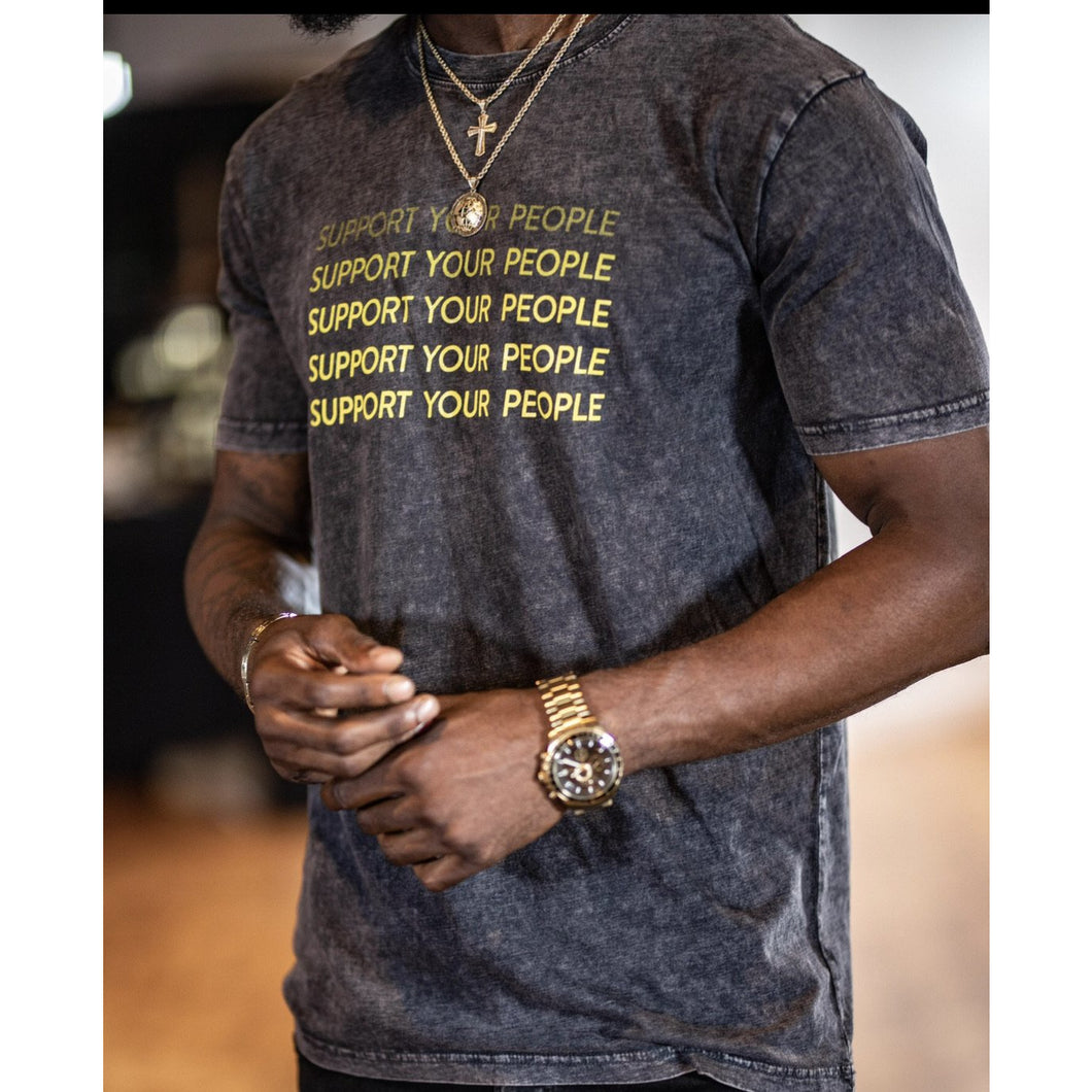 SUPPORT YOUR PEOPLE T-SHIRT -  Stone Wash - AMOUR NOIR