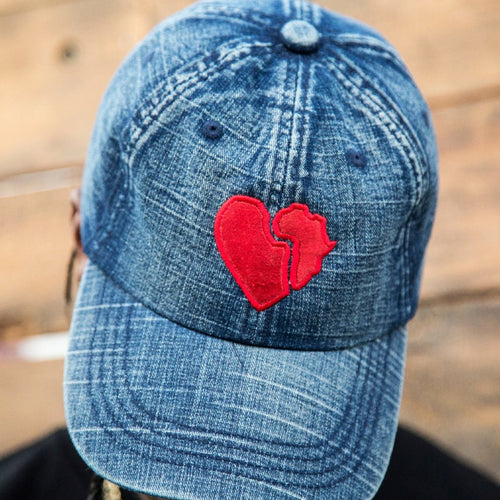 DENIM HAT - RED SUEDE PATCH - AMOUR NOIR