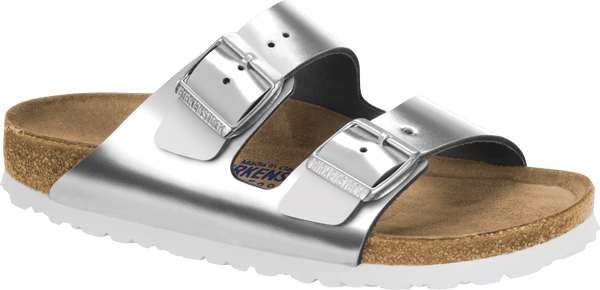 Birkenstock Arizona SFB Silver/White Sandal - Narrow