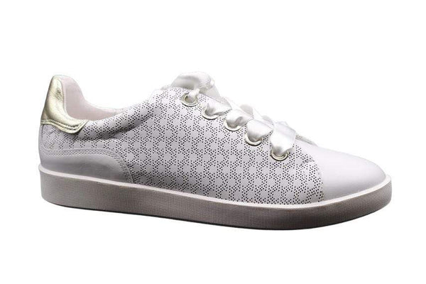 SOFTWAVES FLAT PERFED WHITE SNEAKER