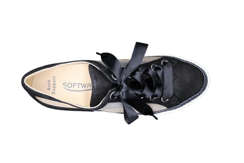 SOFTWAVES WEDGE BLACK MESH SNEAKER