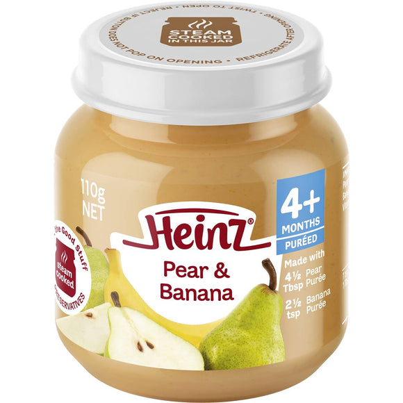 Heinz Strained Food 4 Months 100% Pear & Banana 110g