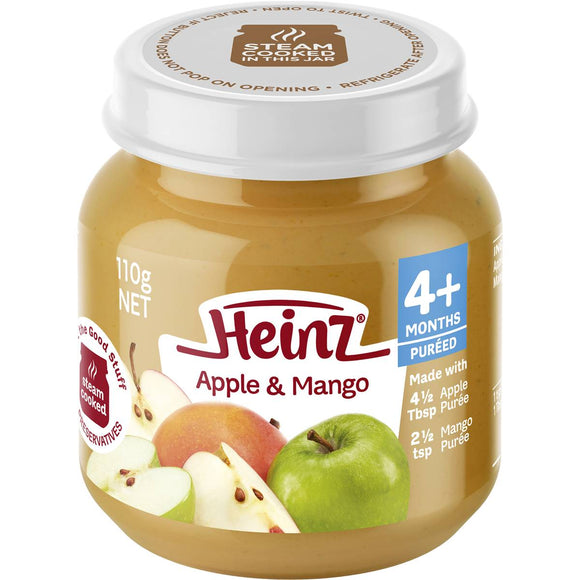 Heinz Strained Food 4 Months Apple & Mango 100% Fruit 110g